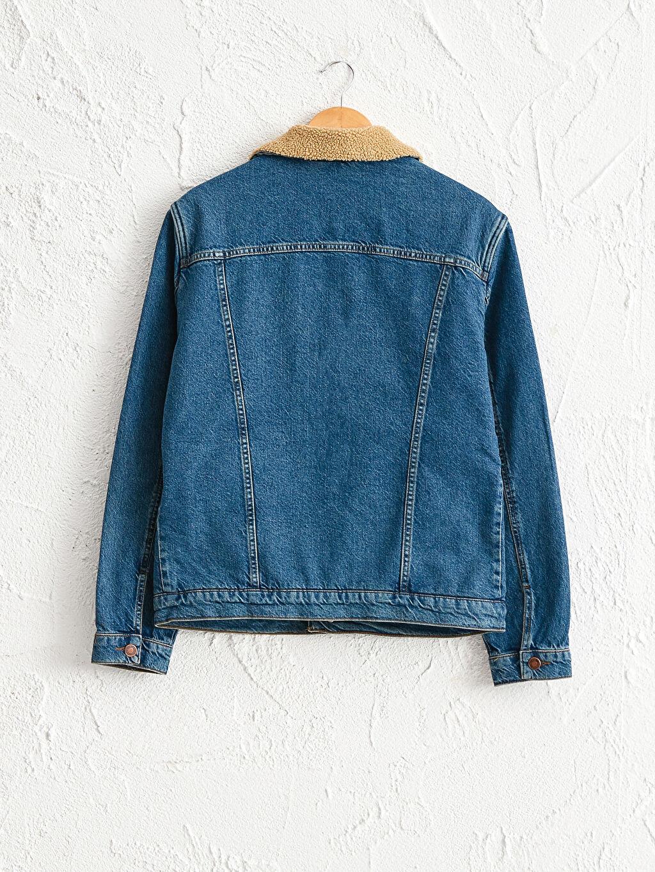 %100 Pamuk %100 Polyester Jean Ceket Standart Kürk Astar Standart Kalıp Jean Ceket