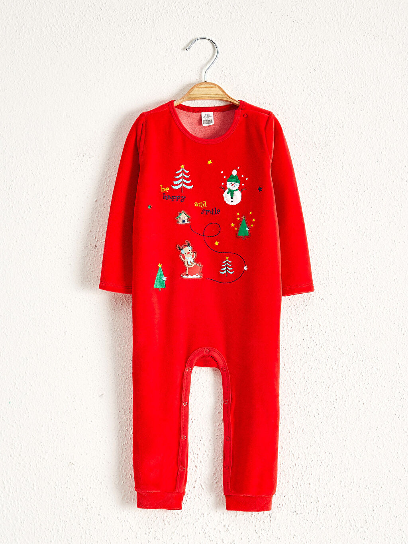 Kırmızı Erkek Bebek Yılbaşı Temalı Tulum 0W8176Z1 LC Waikiki