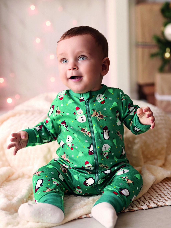 Yeşil Erkek Bebek Baskılı Tulum 0W8177Z1 LC Waikiki