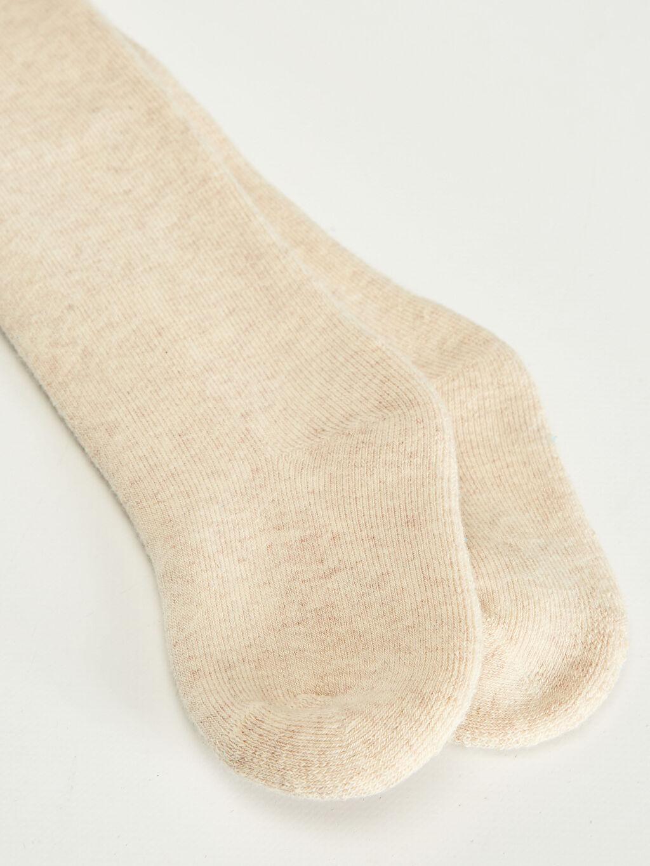 %61 Pamuk %28 Polyester %10 Poliamid %1 Elastan Kalın Külotlu Çorap Düz Kız Bebek Külotlu Çorap