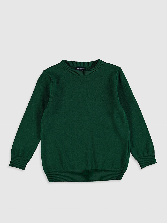 Yeşil Erkek Çocuk İnce Triko Kazak 0W8650Z4 LC Waikiki