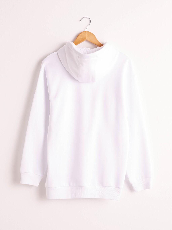 Beyaz Kapüşonlu Baskılı Kalın Sweatshirt