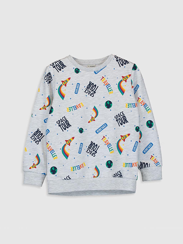 Gri Erkek Çocuk Baskılı Sweatshirt 0W9974Z4 LC Waikiki