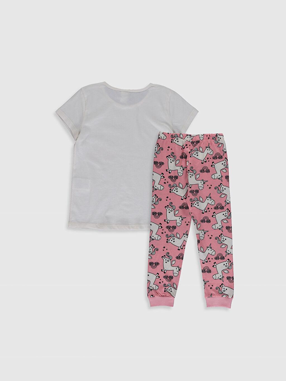 %100 Pamuk Kısa Kol Standart İnce Baskılı Pijama Takım Bisiklet Yaka Kız Çocuk Baskılı Pamuklu Pijama Takımı
