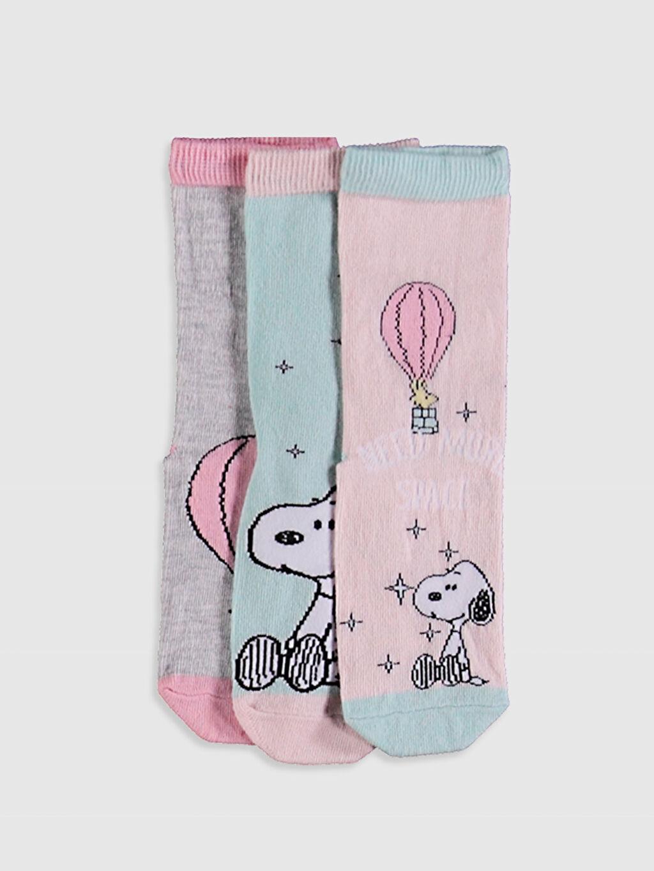 Mavi Kız Çocuk Soket Çorap 3'Lü 0WH076Z4 LC Waikiki