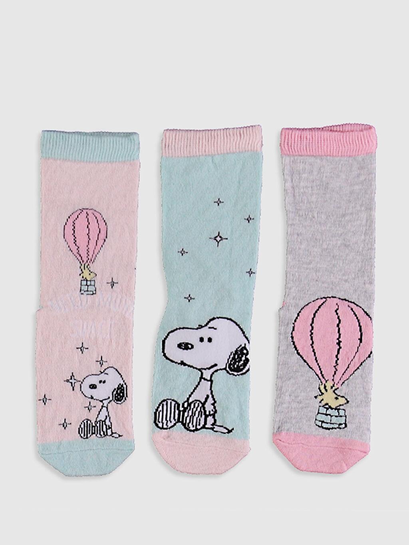 %73 Pamuk %25 Poliamid %2 Elastan Orta Kalınlık Soket Çorap Snoopy Dikişli Kız Çocuk Soket Çorap 3'Lü