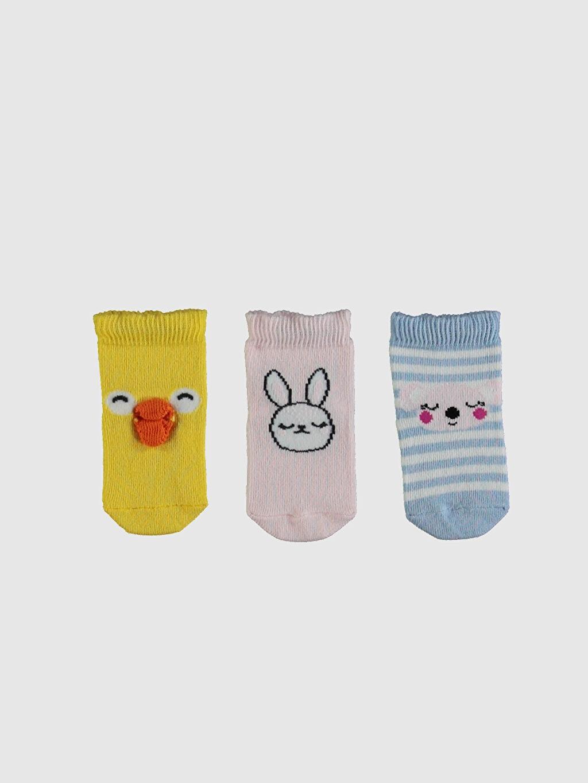 %74 Pamuk %24 Poliamid %2 Elastan Baskılı Orta Kalınlık Soket Çorap Yüksek Pamuk İçerir Kız Bebek Soket Çorap 3'Lü