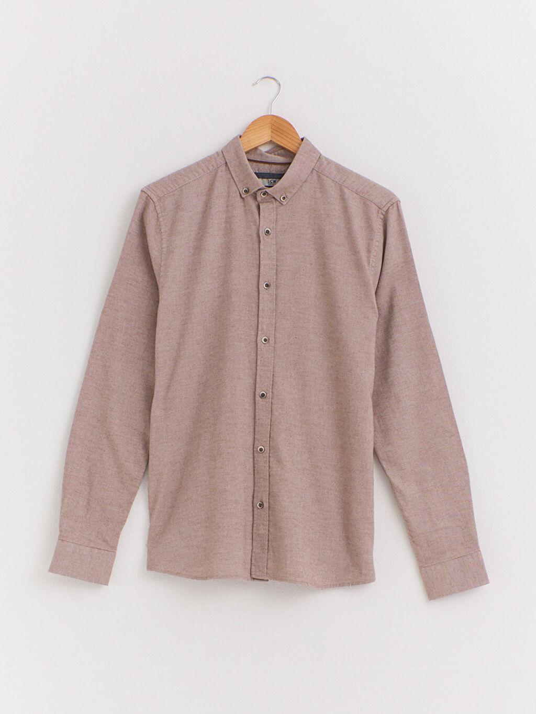 Bej Slim Fit Uzun Kollu Armürlü Gömlek 0WH225Z8 LC Waikiki