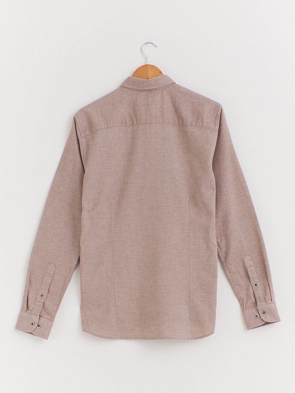 %100 Pamuk Diğer Uzun Kol Düğmeli Gömlek Yaka %100 Pamuk Gömlek Kalın Patlı Slim Fit Uzun Kollu Armürlü Gömlek