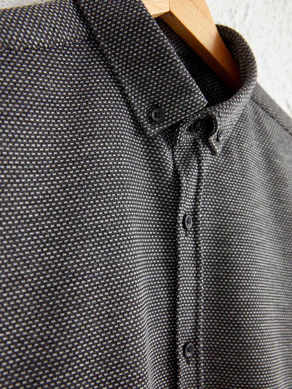 %30 Pamuk %70 Polyester Gömlek Kalın Patlı Diğer Uzun Kol Düğmeli Gömlek Yaka Slim Fit Uzun Kollu Gömlek