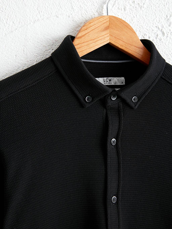 %100 Pamuk Slim Fit Uzun Kollu Gömlek