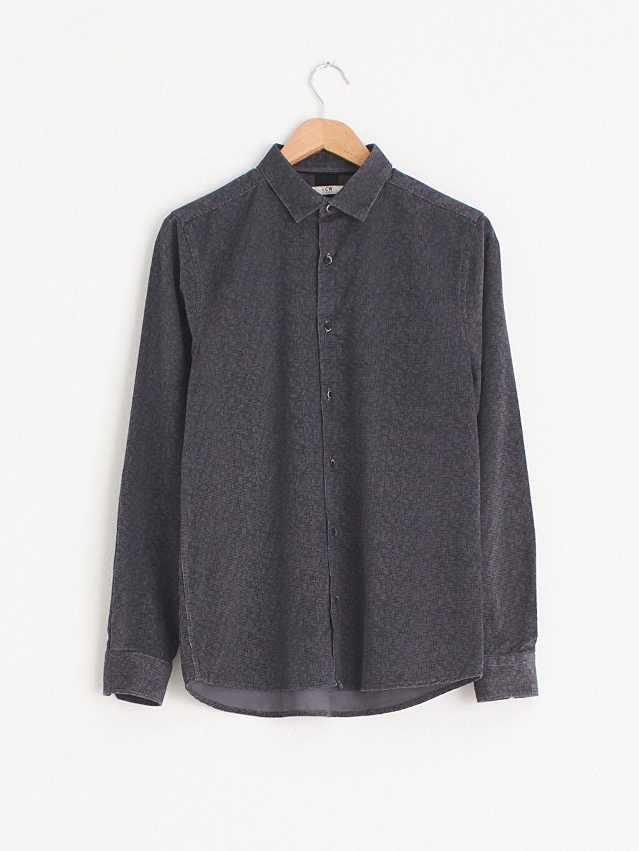 Antrasit Slim Fit Uzun Kollu Kadife Gömlek 0WH289Z8 LC Waikiki