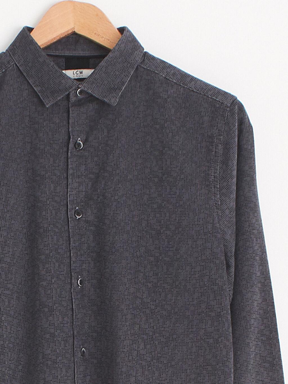 Erkek Slim Fit Uzun Kollu Kadife Gömlek