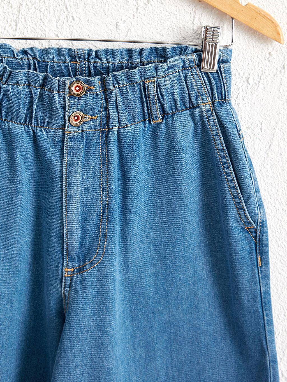 Kadın Beli Lastikli Harem Jean Pantolon