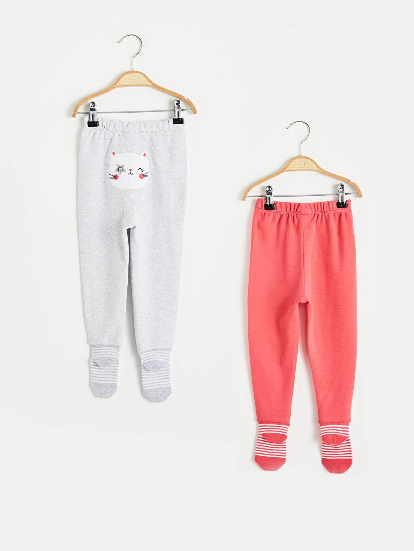 %100 Pamuk Pijama Alt İnterlok Kız Bebek Patikli Alt 2'Li