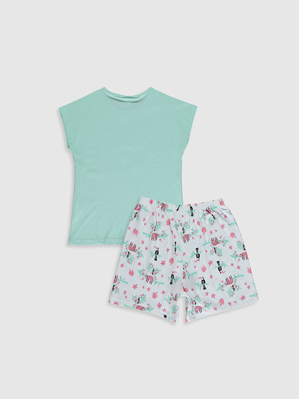 %100 Pamuk İnce %100 Pamuk Standart Baskılı Pijama Takım Bisiklet Yaka Kısa Kol Kız Çocuk Baskılı Pamuklu Pijama Takımı