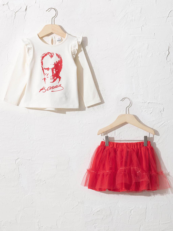 Ekru Kız Bebek Atatürk Baskılı Tişört Ve Etek 0WAI54Z1 LC Waikiki