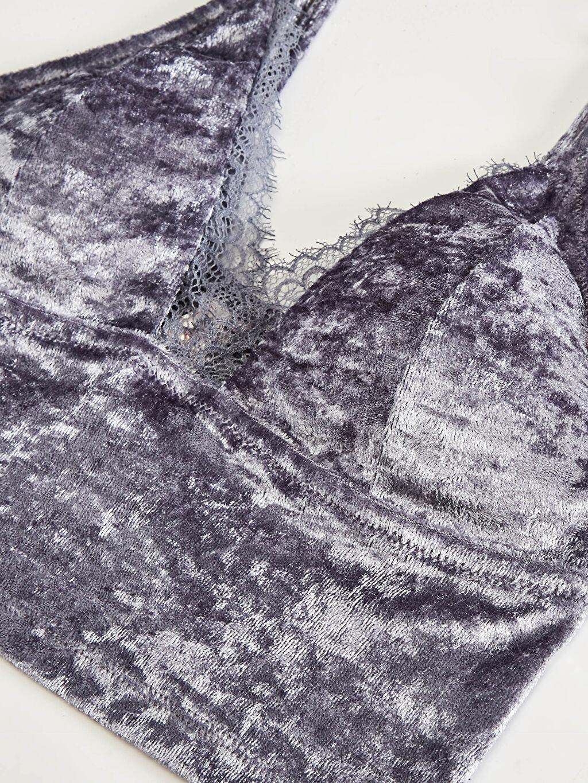 Kadın Dantel Detaylı Kadife Bralet