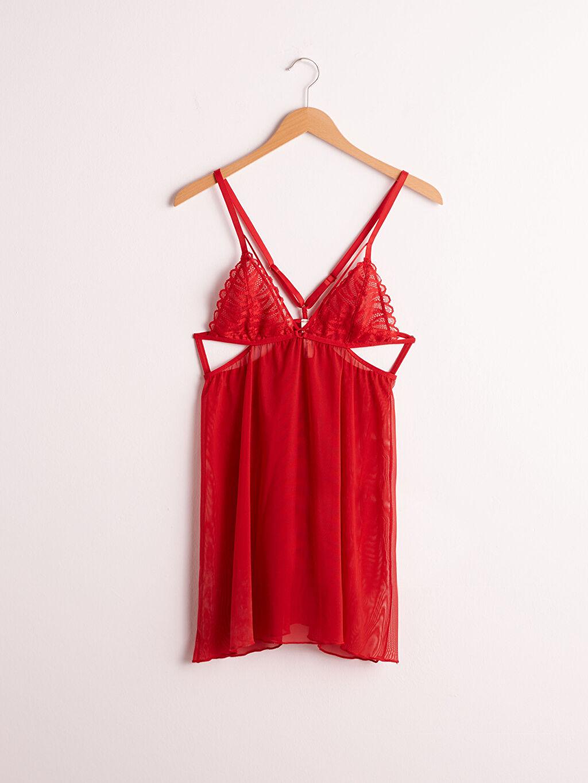 Kırmızı Dantelli Babydoll Gecelik 0WBE97Z8 LC Waikiki
