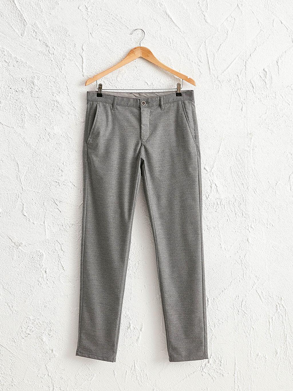 Gri Slim Fit Dokulu Pantolon 0WBG01Z8 LC Waikiki