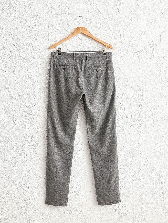 %64 Polyester %2 Elastan %34 Viskon Kalın Dar Pantolon Slim Fit Dokulu Pantolon