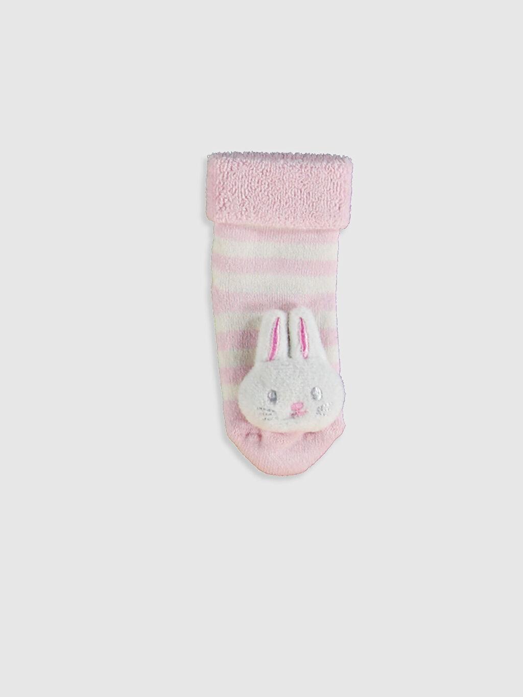 %86 Pamuk %13 Polyester %1 Elastan Çizgili Soket Çorap Yüksek Pamuk İçerir Kız Bebek Soket Çorap