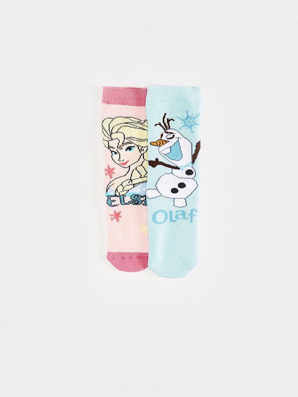 %75 Pamuk %24 Poliamid %1 Elastan Kalın Soket Çorap Standart Yüksek Pamuk İçerir Frozen Casual/Günlük Kız Çocuk Lisanslı Soket Çorap 2'Li