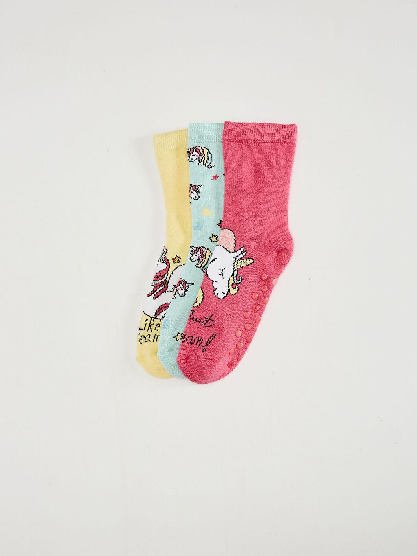 Pembe Kız Çocuk Soket Çorap 3'Lü 0WBL61Z4 LC Waikiki