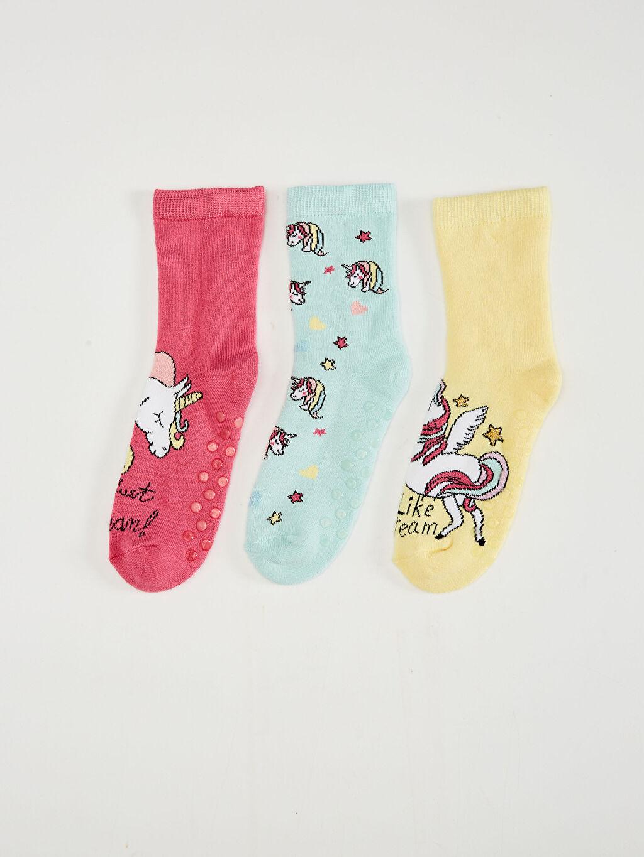 %81 Pamuk %18 Poliamid %1 Elastan Orta Kalınlık Soket Çorap Casual/Günlük Yüksek Pamuk İçerir Kız Çocuk Soket Çorap 3'Lü