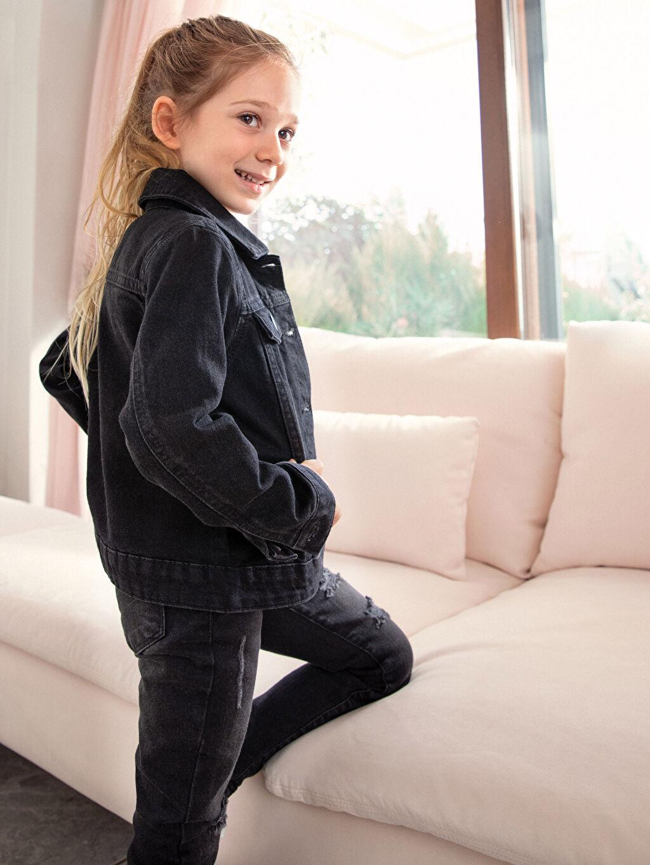 %100 Pamuk Aksesuarsız Jean Ceket Rahat Kalıp Orta Kalınlık Western Düz Kız Çocuk Jean Ceket