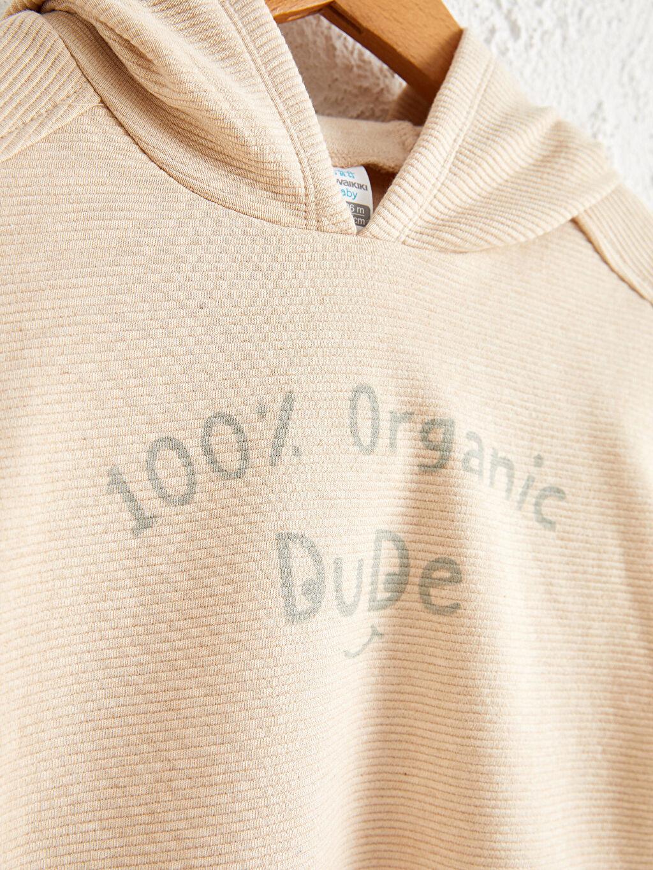 %100 Pamuk Kapüşon Yaka Aksesuarsız Sweatshirt Sweatshirt Standart Ottoman Baskılı Casual Orta Kalınlık Uzun Kol Erkek Bebek Organik Pamuklu Sweatshirt