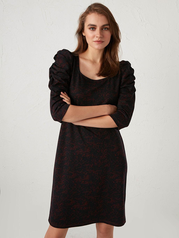Kadın Desenli Kare Yaka Elbise
