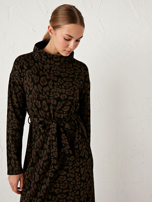Kadın Leopar Desenli Uzun Salaş Elbise