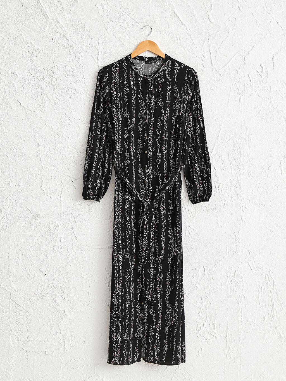 %100 Viskoz Desenli Kuşaklı Elbise