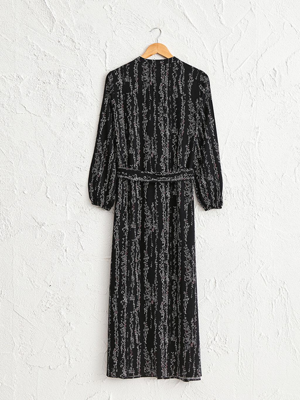 LC Waikiki Siyah Desenli Kuşaklı Elbise