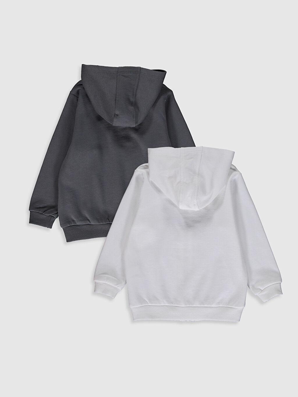%100 Pamuk Kalın Sweatshirt Kumaşı Standart Orta Kalınlık Kapüşonlu Uzun Kol Düz Spor Hırka Erkek Bebek Fermuarlı Kapüşonlu Sweatshirt 2'Li