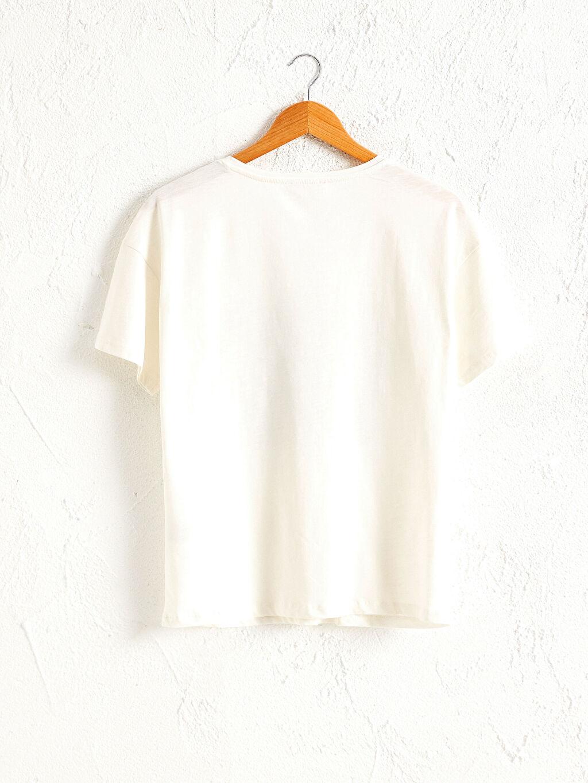 %100 Pamuk Tişört V Yaka Kısa Kol Penye Pul Nakışlı Pamuklu Tişört