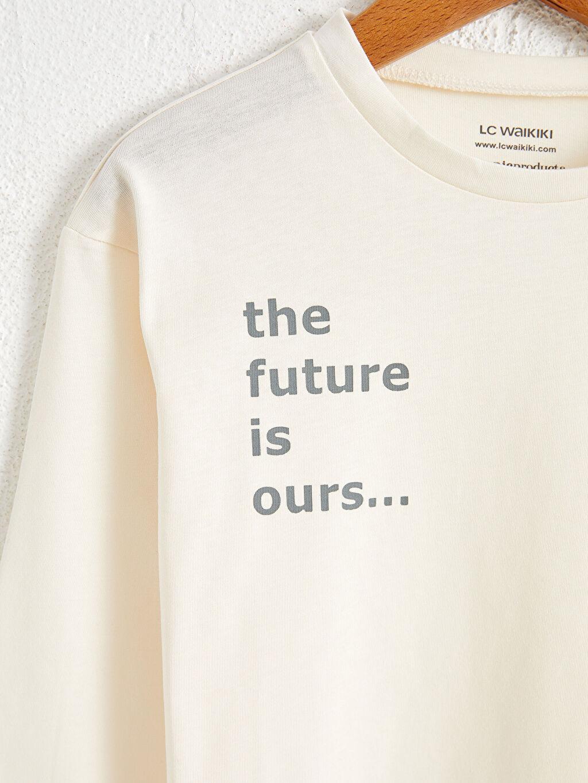 %100 Pamuk Penye Baskılı Tişört Bisiklet Yaka Uzun Kol Kız Çocuk Organik Pamuklu Tişört
