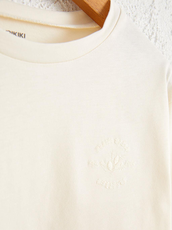 %100 Pamuk Penye Tişört Bisiklet Yaka Uzun Kol Düz Kız Çocuk Organik Pamuklu Basic Tişört