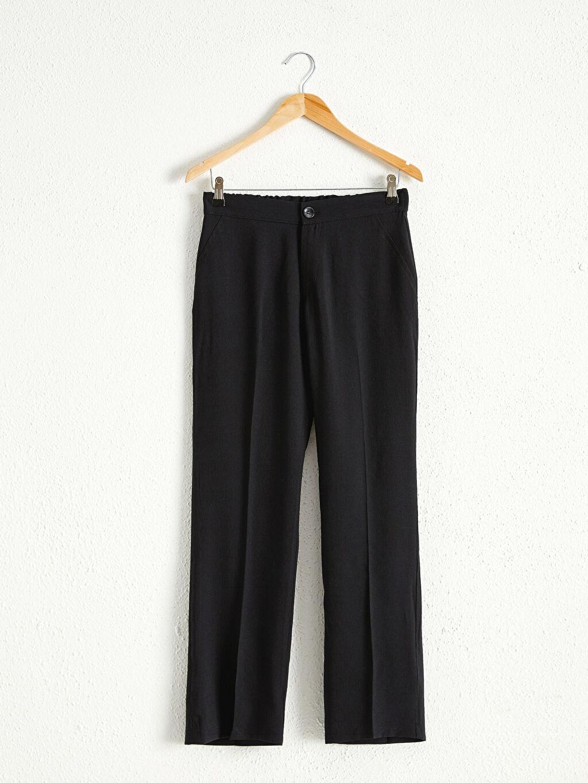 %13 Polyester %87 Viskoz İnce Düz Standart Pantolon Beli Lastikli Düz Paça Pantolon