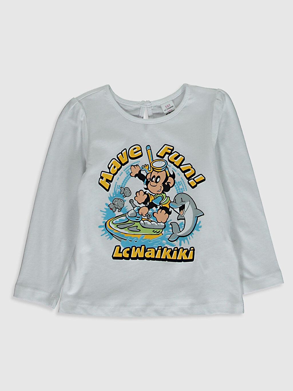 Beyaz Kız Bebek Nostaljı Maymun Baskılı Tişört 0WCQ95Z1 LC Waikiki
