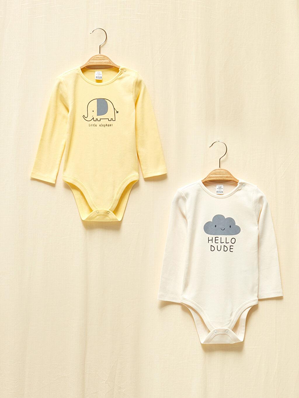 Ekru Kız Bebek Organik Pamuklu Çıtçıtlı Body 2'Li 0WCR16Z1 LC Waikiki