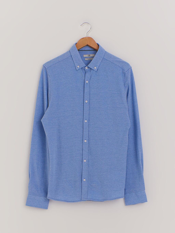Mavi Slim Fit Uzun Kollu Pamuklu Gömlek 0WCU65Z8 LC Waikiki