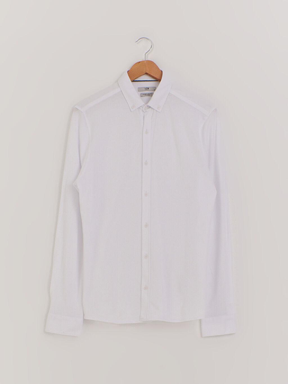 Beyaz Slim Fit Uzun Kollu Pamuklu Gömlek 0WCU65Z8 LC Waikiki