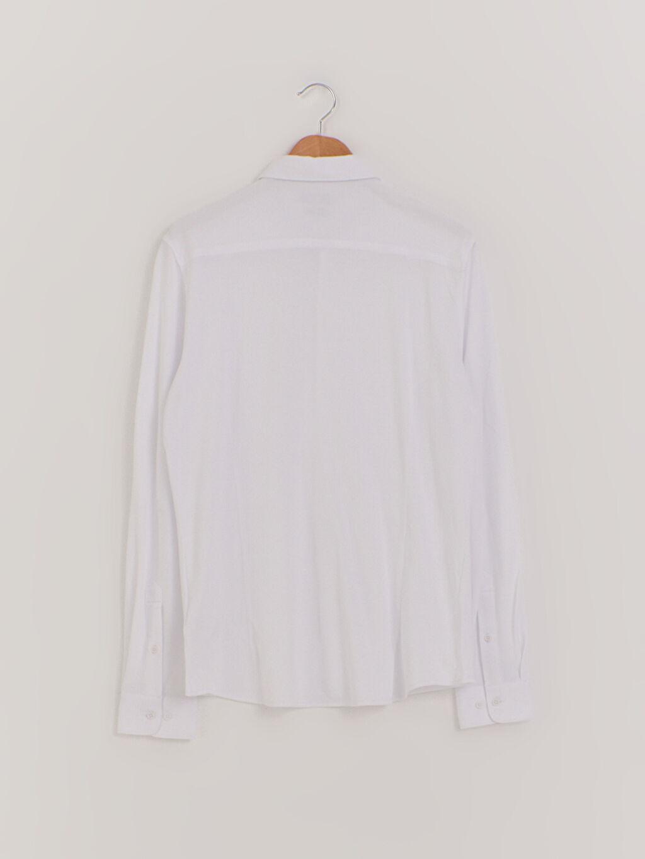 %100 Pamuk Gömlek Patlı Orta Kalınlık Diğer Uzun Kol Düğmeli Gömlek Yaka Slim Fit Uzun Kollu Pamuklu Gömlek