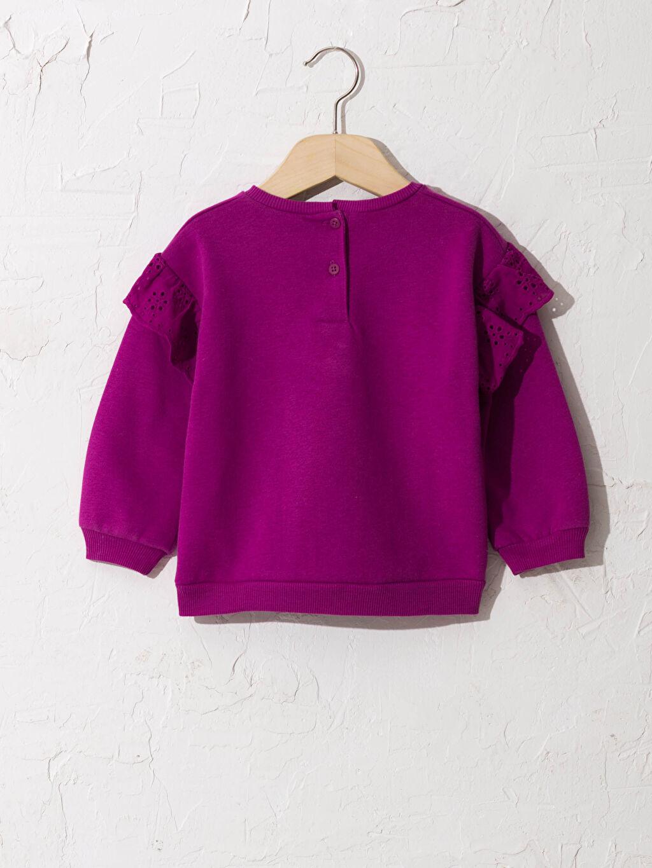 %68 Pamuk %32 Polyester Sweatshirt Standart Bisiklet Yaka Orta Kalınlık Uzun Kol Düz Casual/Günlük Sweatshirt Kumaşı Kız Bebek Fırfır Detaylı Sweatshirt
