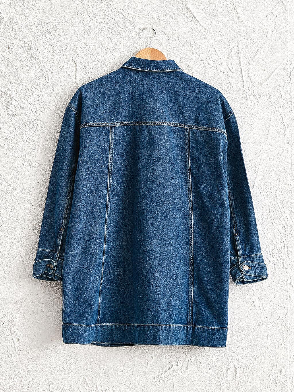%100 Pamuk Jean Ceket Salaş Orta Kalınlık Uzun Kol Cepli Uzun Jean Ceket