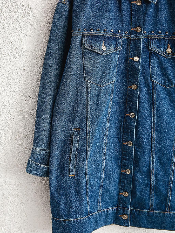 Kadın Cepli Uzun Jean Ceket