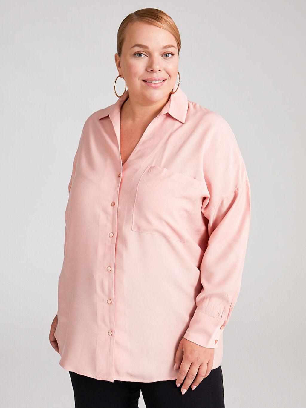 Kadın Cep Detaylı Salaş Gömlek