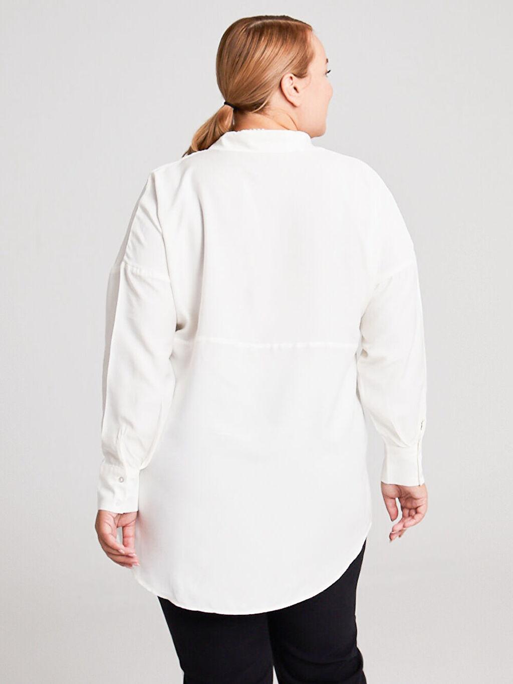%100 Viskoz Gömlek Elbise Keten Görünümlü Gömlek Gömlek Yaka İnce Bol Uzun Uzun Kol Düz Cep Detaylı Salaş Gömlek